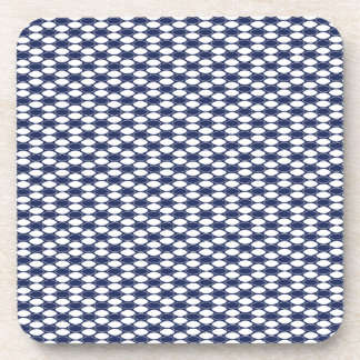 Dark Blue and White Oval Pattern Beverage Coasters