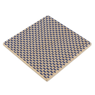Dark Blue and White Oval Pattern Wood Coaster