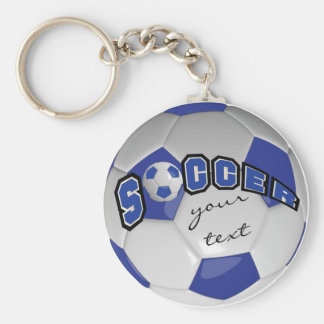 Dark Blue and White Personalize Soccer Ball Basic Round Button Keychain