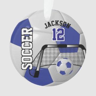 Dark Blue and White Personalize Soccer Ball Ornament