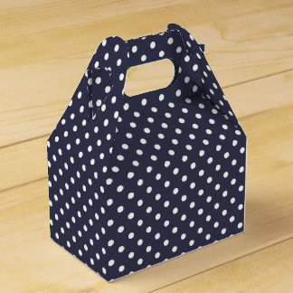 Dark Blue And White Polka Dot Pattern Party Favor Box