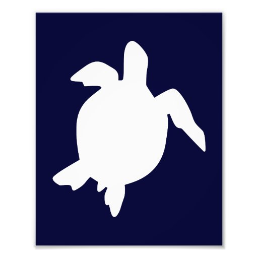 Dark Blue and White Sea Turtle Vertical B Photographic Print