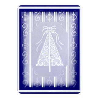 "Dark Blue And White Swirls Stripes Christmas Tree 5"" X 7"" Invitation Card"