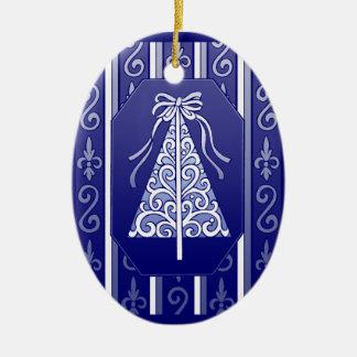 Dark Blue And White Swirls Stripes Christmas Tree Ceramic Oval Ornament