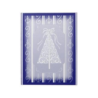 Dark Blue And White Swirls Stripes Christmas Tree Notepad