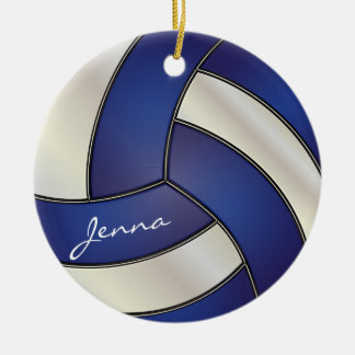 Dark Blue and White Volleyball | DIY Name Round Ceramic Ornament