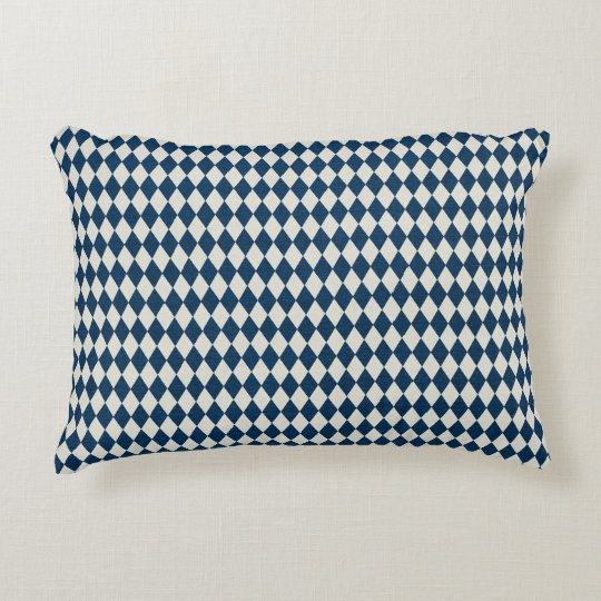 Dark Blue Argyle Accent Pillow