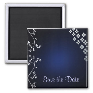 Dark blue asian themed save the date magnet
