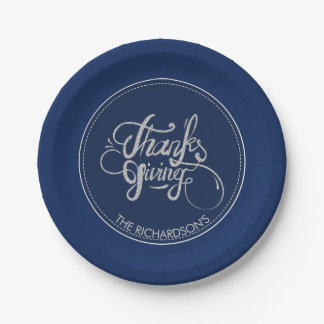 Dark Blue Background Silver Glitter-Thanksgiving Paper Plate