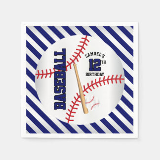 Dark Blue Baseball Birthday Design | Personalize Disposable Napkins