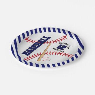 Dark Blue Baseball Birthday Design | Personalize Paper Plate
