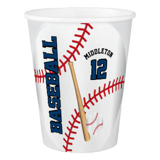 Dark Blue Baseball Design | Personalize Paper Cup