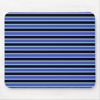 Dark Blue, Black and Pastel Blue Stripes Mouse Pad