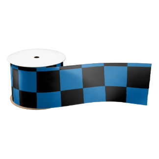 Dark blue black checkers satin ribbon