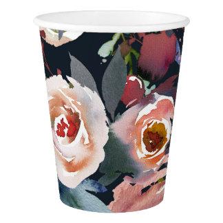 Dark Blue & Blush Pink Pastel Floral Wedding Party Paper Cup