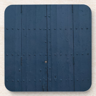 Dark Blue Boathouse Door Costa Brava Spain Coaster