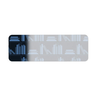 Dark Blue Books on Shelf Return Address Label
