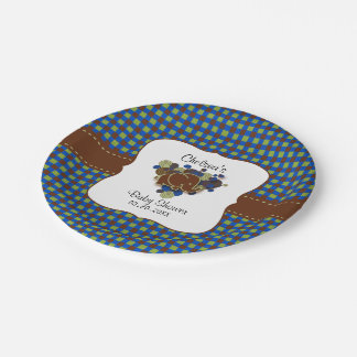 Dark Blue & Brown Baby Elephant | Baby Shower Paper Plate