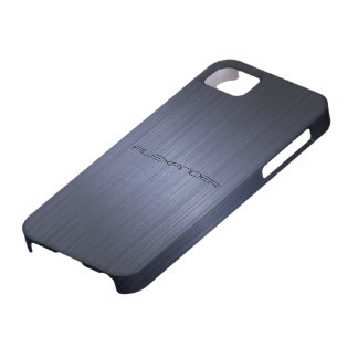 Dark Blue Brushed Aluminum Metal Look-Monogram iPhone 5 Cover