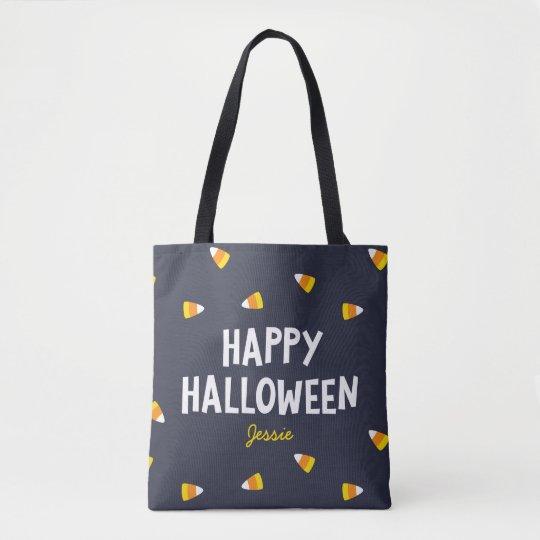 Dark Blue Candy Corn Happy Halloween Tote Bag