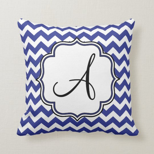 Dark Blue Chevron Monogram Throw Pillow