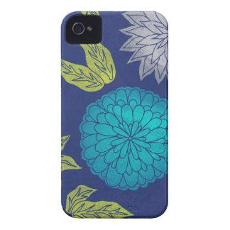 Dark Blue Chrysanthemum iPhone 4 Covers