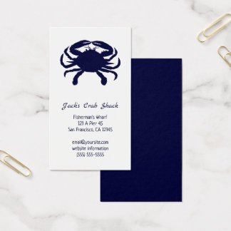 Dark Blue Crab Silhouette Seafood Restaurant Business Card