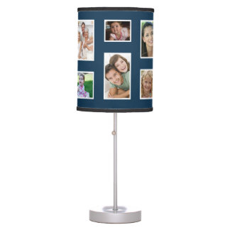 Dark Blue Custom Family Photo Lamp