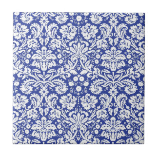 Dark blue damask pattern tile