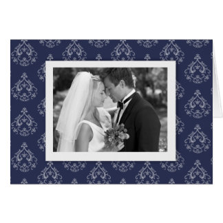 Dark Blue Damask Photo Thank you Card
