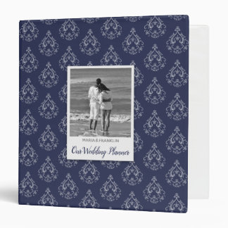 "Dark Blue Damask Wedding Planner 1.5"" Binder"