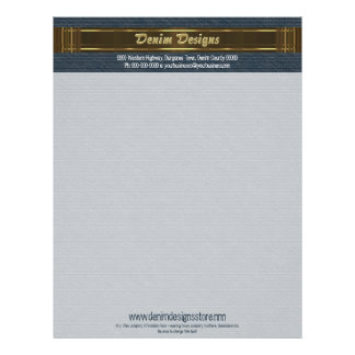 Dark blue Denim with brown and gold colors Letterhead