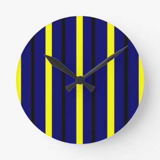 Dark Blue Derby Stripe Round Clock