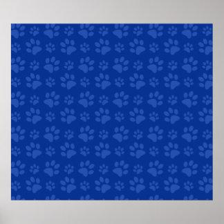 Dark blue dog paw print pattern