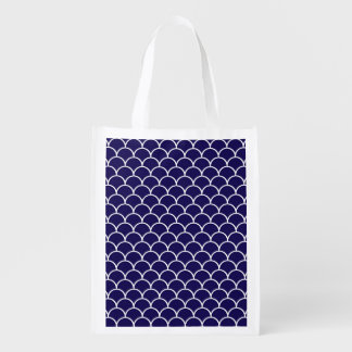 Dark Blue Dragon Scales Reusable Grocery Bags