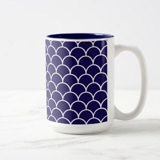 Dark Blue Dragon Scales Two-Tone Coffee Mug