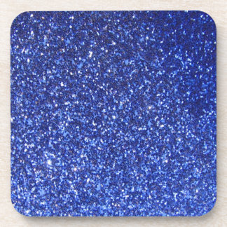 Dark blue faux glitter graphic drink coaster