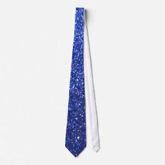 Dark blue faux glitter graphic tie