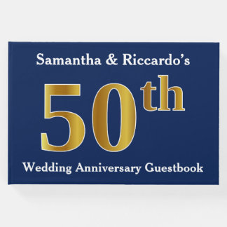 Dark Blue + Faux Gold 50th Wedding Anniversary Guest Book