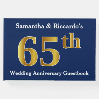 Dark Blue + Faux Gold 65th Wedding Anniversary Guest Book