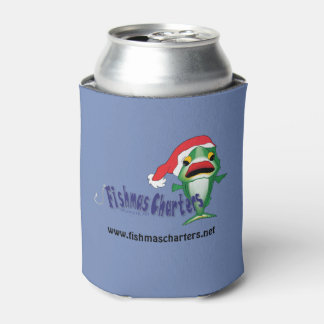 Dark Blue Fishmas Charters Can Cooler