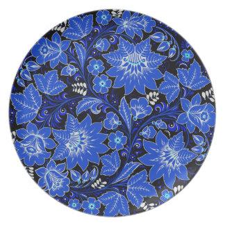Dark Blue Floral Dinner Plates