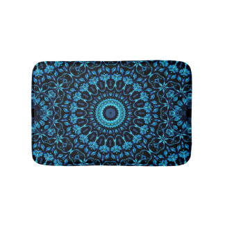 Dark Blue Floral Mandala Bath Mat