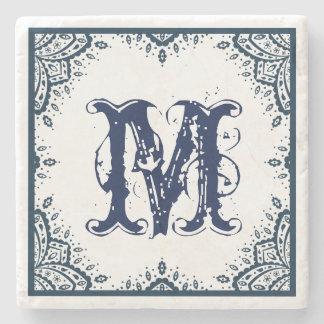 Dark Blue Floral Paisley Frame Monogram Stone Coaster