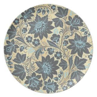 Dark Blue Floral Pattern Party Plates
