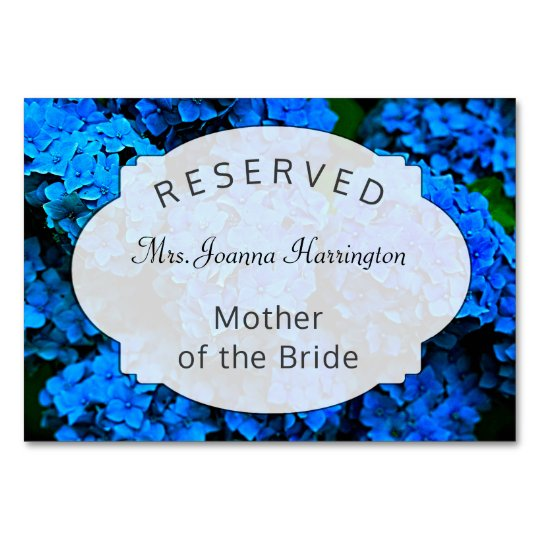 Dark Blue Floral Reserved Seating Table Sign Card