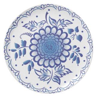 Dark Blue Flower Party Plate