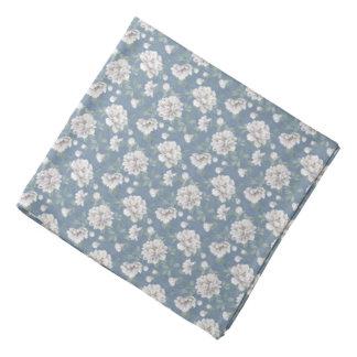 Dark Blue Flower Pattern Bandana