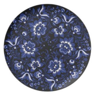 Dark Blue Flowers Plate