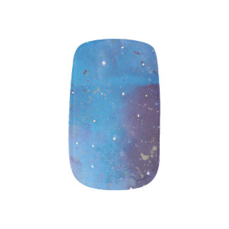 Dark Blue Galaxy Minx Nail Art